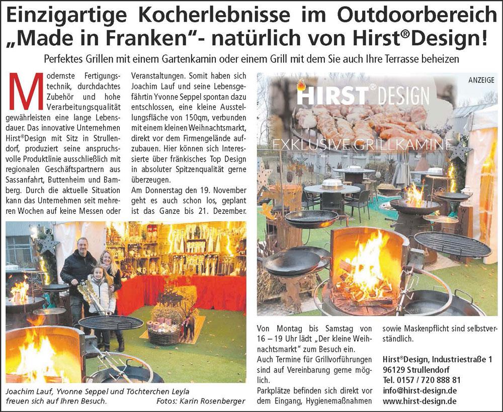 Kocherlebnisse & Weihnachtsmarkt bei Hirst Design in Strullendorf